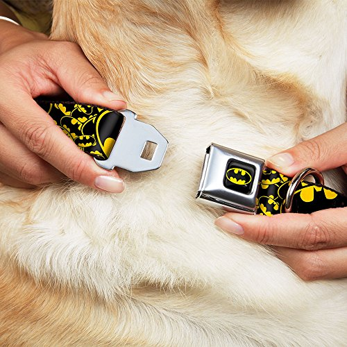 Picture of Buckle-Down Seatbelt Buckle Dog Collar - Bat Signals Stacked w/CLOSE-UP Yellow/Black - 1