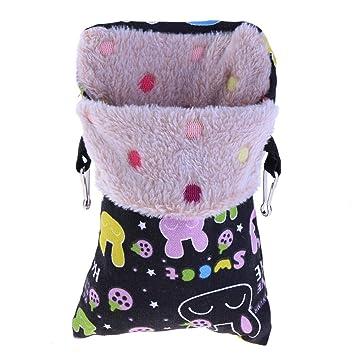 Broadroot Hámster Nido Cálido Sacos de Dormir Loros Cama Ardillas Bolsa Conejillos de Indias Sacos de Dormir Cama para el Invierno (Negro M): Amazon.es: ...