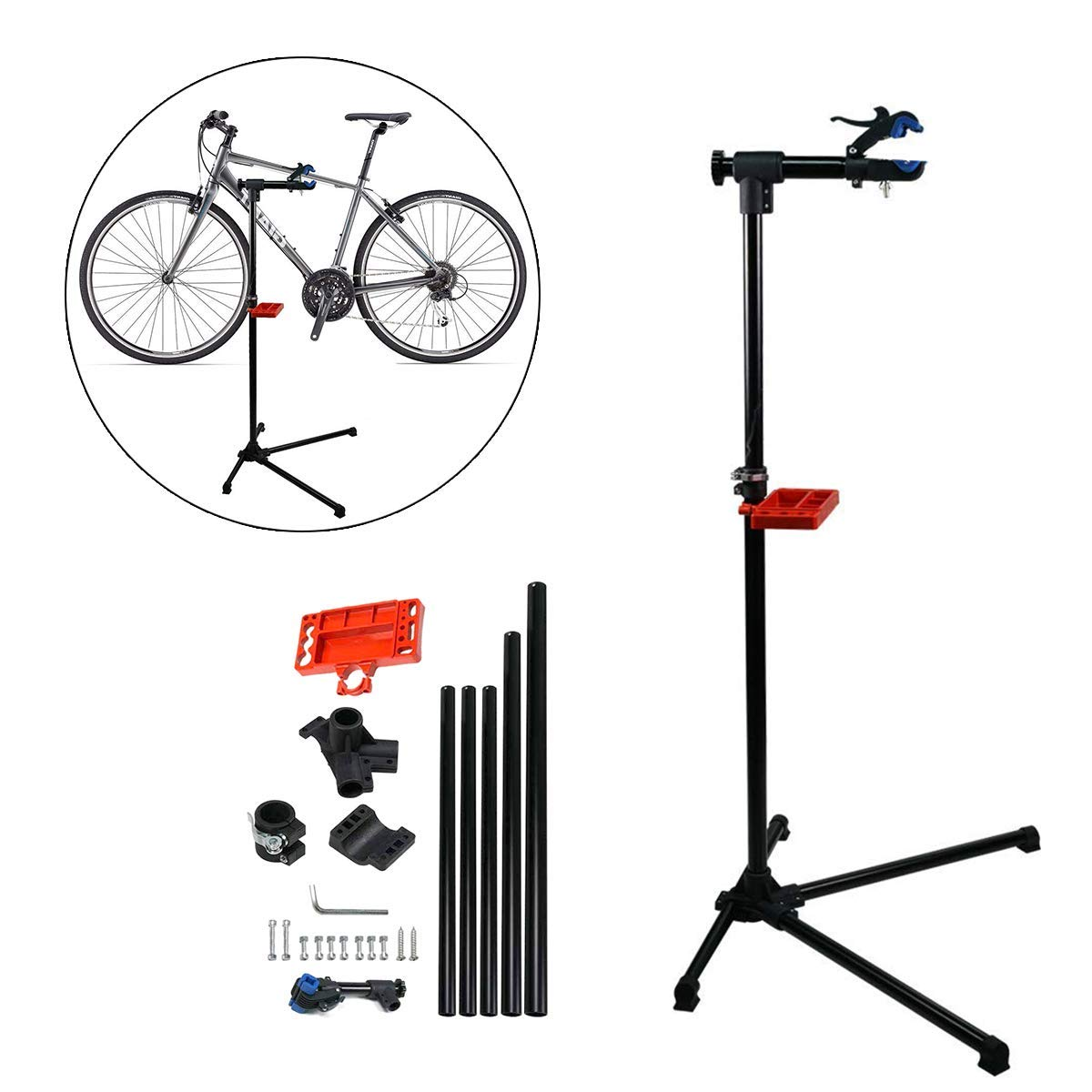 KEENAXIS Adjustable Pro Mechanic Bike Repair Stand Maintenance Rack Workstand W/Tool Tray & Telescopic Arm Extensible Bicycle Repair Stand by KEENAXIS