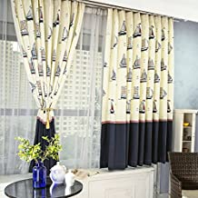 USQDCCLAT-Children's room curtains clean bedroom Bay window curtain blue short boy sailing half blackout drapery custom curtains,French blending yarn