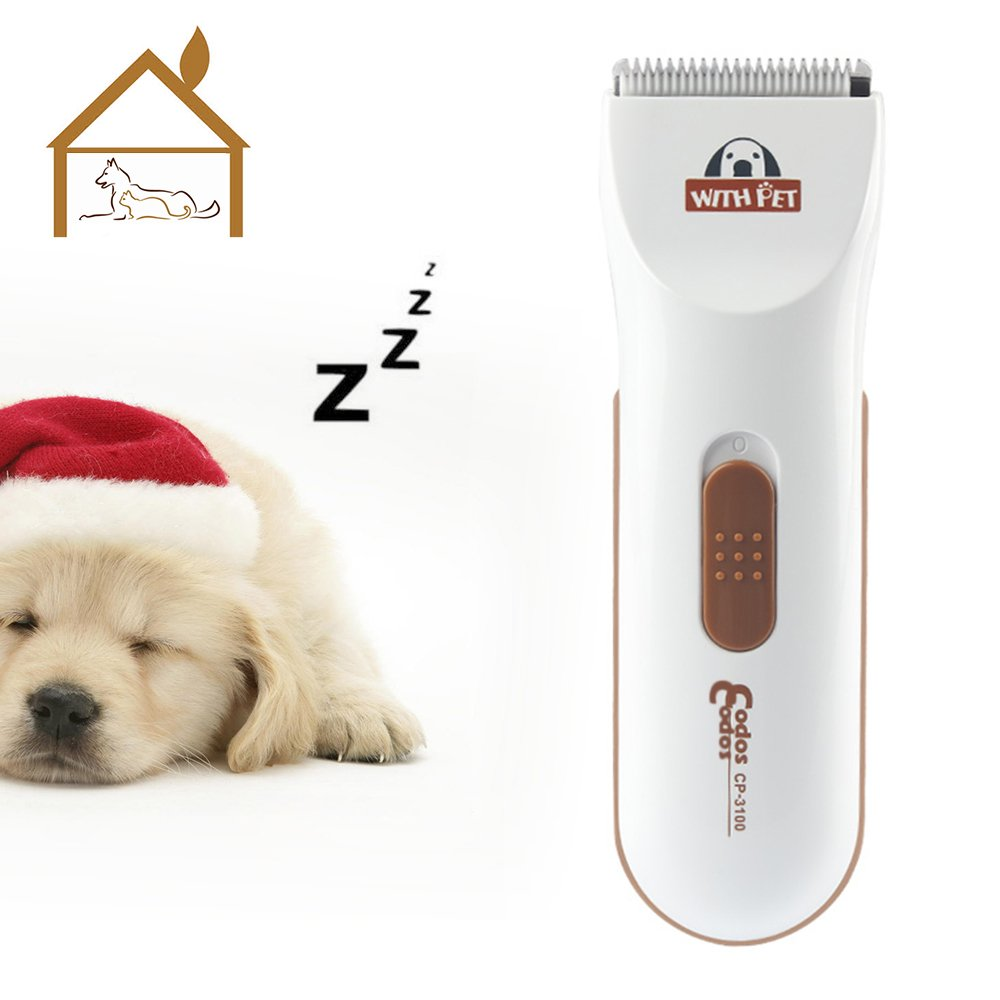 Bovon Professional Dog Clippers - Low Noise Pet Hair Clippers Cordless Dog Trimmer Pet Grooming Tools with Stainless Steel, 2 Comb Guides for Small/Large Dogs, Cats, Horse and Other Animals (White)