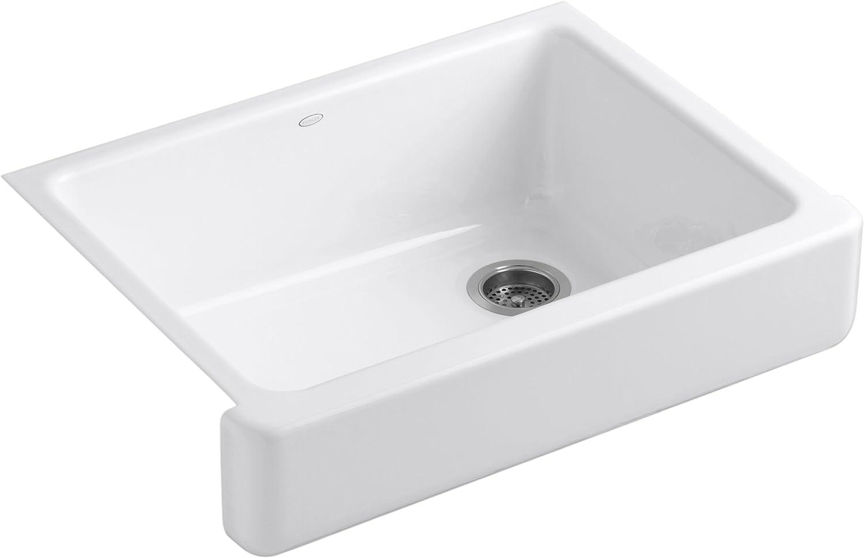 KOHLER K-6486-0 Whitehaven Farmhouse Self-Trimming Undermount Single-Bowl  Kitchen Sink with Short Apron, White