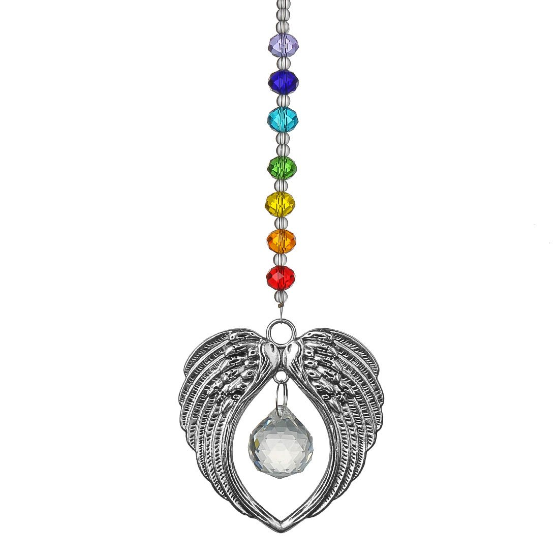 Qf Chakra Angel Wing Pendant with Crystal Ball Rainbow Suncatcher Window Home Decor