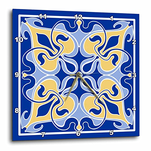 - 3dRose Single Victorian Art Nouveau Tile Design in Blue and Yellow - Wall Clock, 15 by 15-Inch (DPP_219318_3)