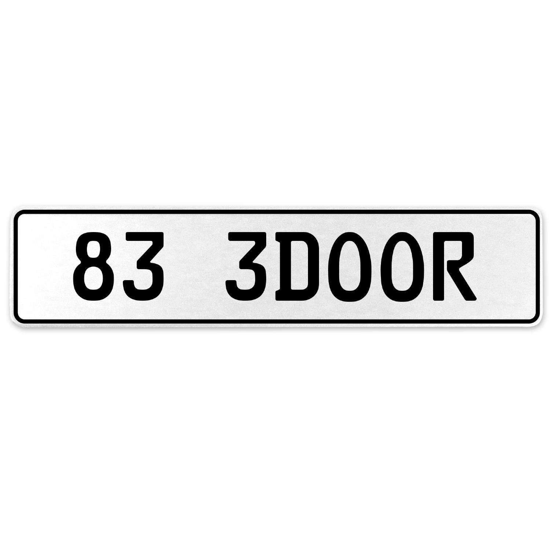Vintage Parts 558046 83 3DOOR White Stamped Aluminum European License Plate