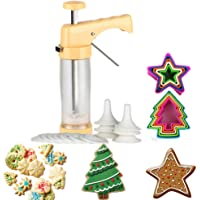 Cookie Press and Decorating Set Included 16 Discs &6 Icing Tips,Multi-size Cookie Cutter Set 10 PCS (Biscuit Bread Fondant Cutters)