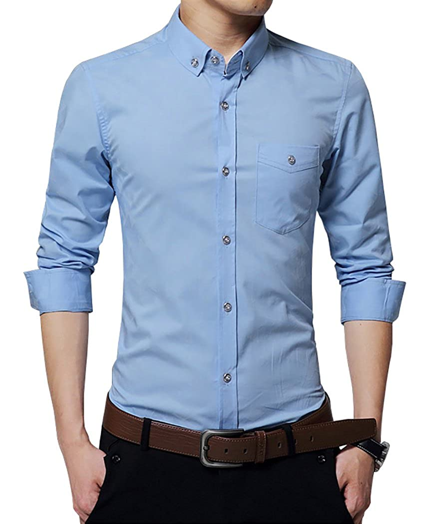 TAOBIAN Mens Casual Slim Fit Dress Shirts Long Sleeve Button Down Shirts