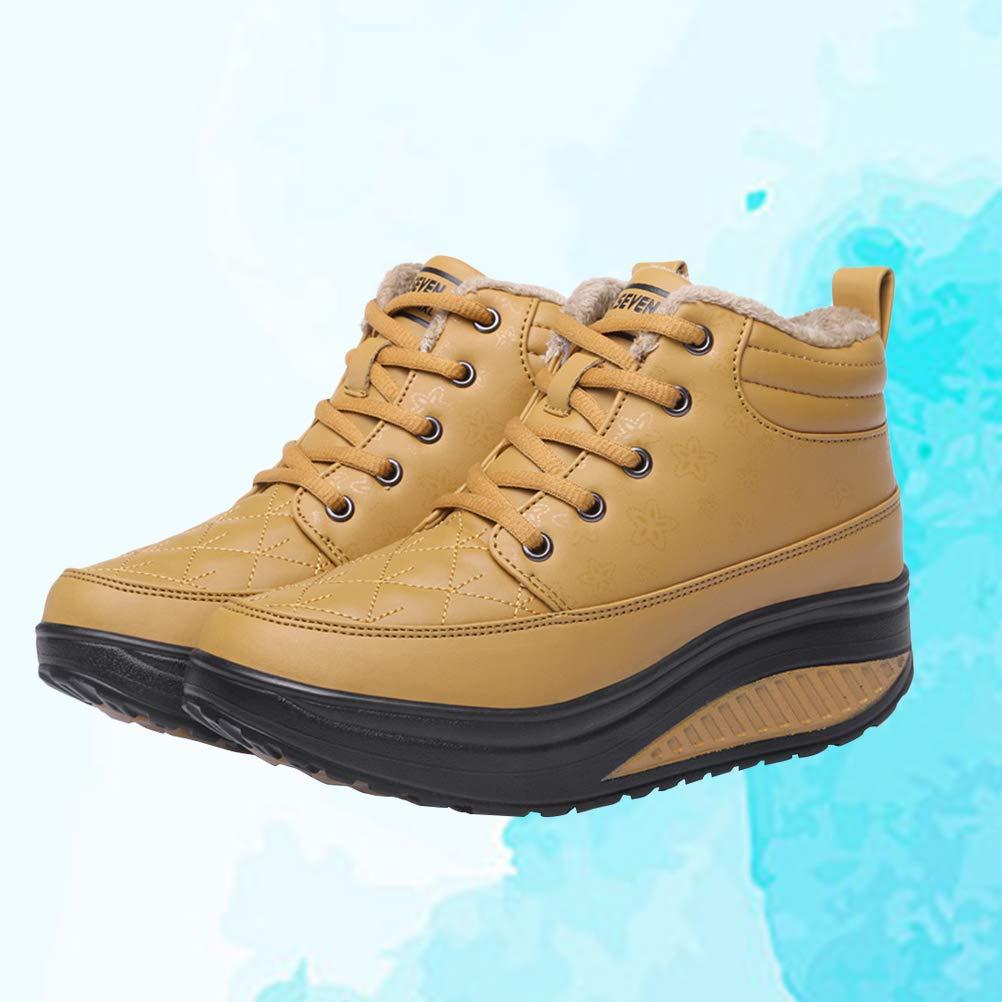 BESTOYARD Fashion Winter Warm Shoes Waterproof Sneakers Shook Swing Shoes Yellow,36