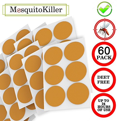 Bedoo Mosquito Patch 3cm Resealable 60-Count Pack, Non-Toxic 24-Hour Protection Apply to Skin and Clothes, Adult, Kid with Natural Ingredients