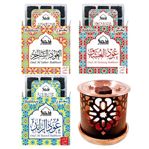 Dukhni Oud Bakhoor Pack of 3 (Saher, Ushaaq & Raeed) + Persian Bakhoor Burner