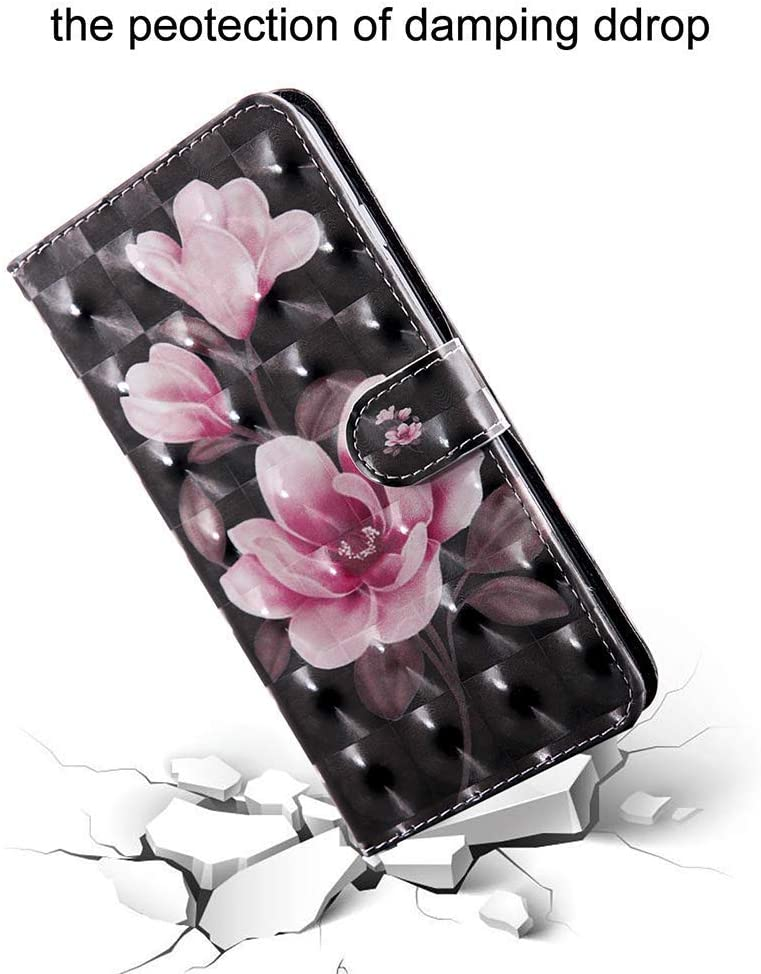 Hnzxy Compatible with iPhone 11 Case,iPhone 11 Cover,3D Effect Painted Flip PU Leather Notebook Wallet Case Magnetic Stand Card Slot Folio Bumper Case for iPhone 11,Black Lace
