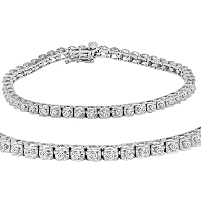 ea7fae5458a Amazon.com  AGS Certified 1 ct tw Diamond Tennis Bracelet in 14K White Gold  7 inch  Jewelry