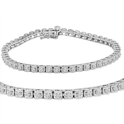 302b984d39eba AGS Certified 1 ct tw Diamond Tennis Bracelet in 14K White Gold 7 inch