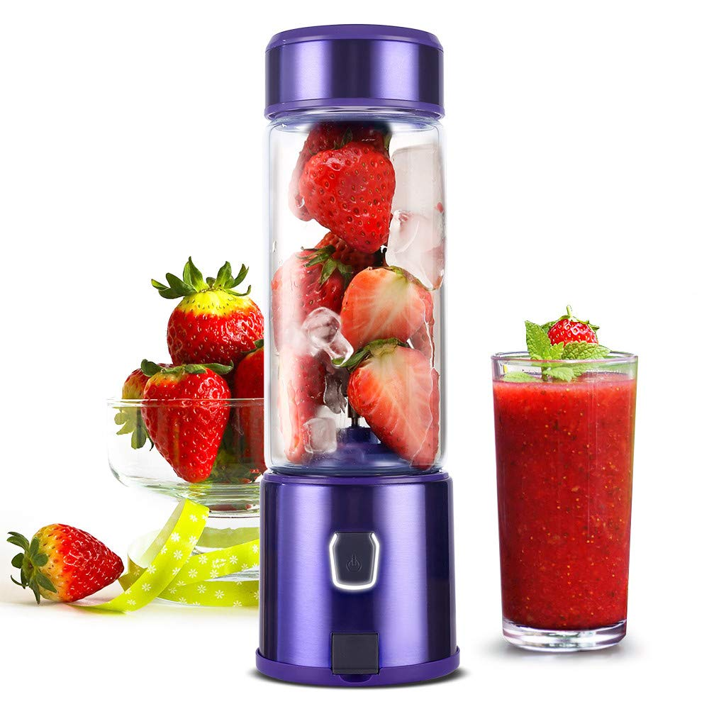 Portable Blender USB Rechargeable, H HUKOER Personal Blender 5200mAh, 15oz Smoothie Blender with Sturdy Glass , 16500rpm Stainless Blades Blender, Perfect for Smoothies , Shakes and Baby Food, FDA BPA Free Purple