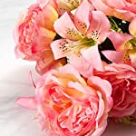 Factory-Direct-Craft-Colorful-Pink-Poly-Silk-Rose-and-Lily-Mixed-Floral-Bush-for-Indoor-Decor