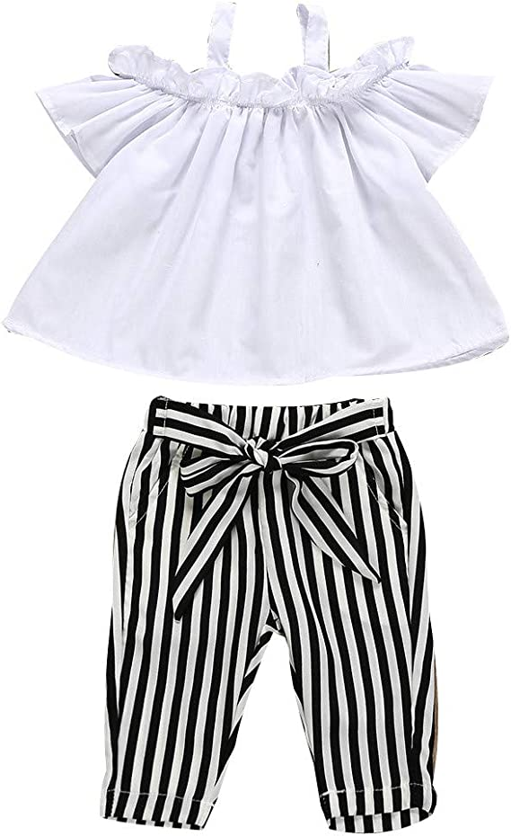 Toddler Baby Girl Summer Outfits Flare Sleeve T-Shirt Tops+Striped Shorts Pants 2Pcs Clothes Set