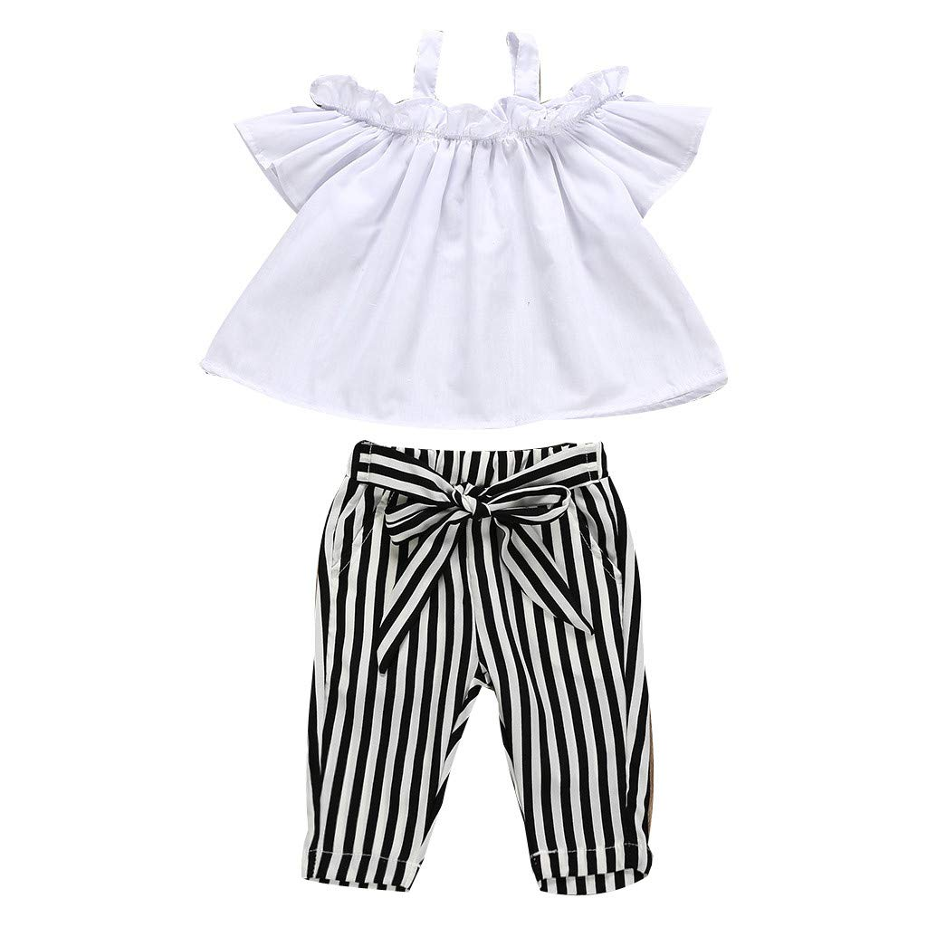 Baby Clothes Sests,Kids Baby Girl Bow Lace Halter Striped T Shirt Tops+Pants Outfit Clothes Set
