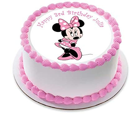 Minnie Mouse Pink Personalized Cake Topper Icing Sugar Paper 75