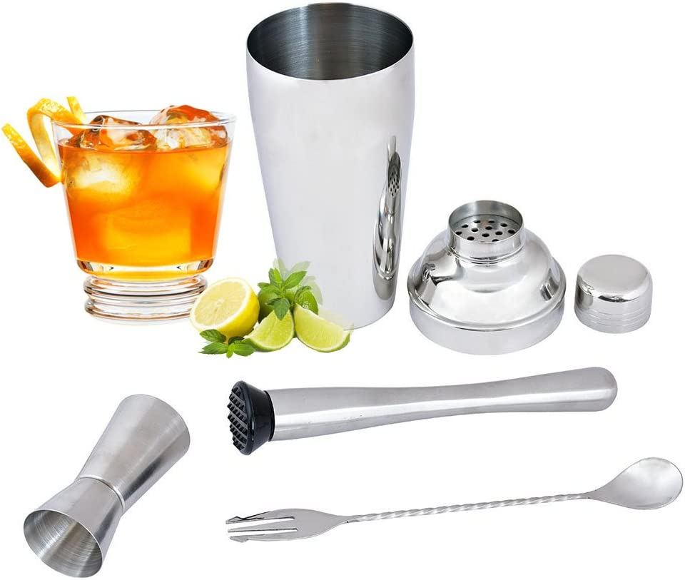 Kosma Set of 4Pc Cocktail Set Stainless Steel : Cocktail Shaker 750 ml Peg Mesure 30x60ml Twisted Handle Mixing Spoon with Fork 25cm Muddler