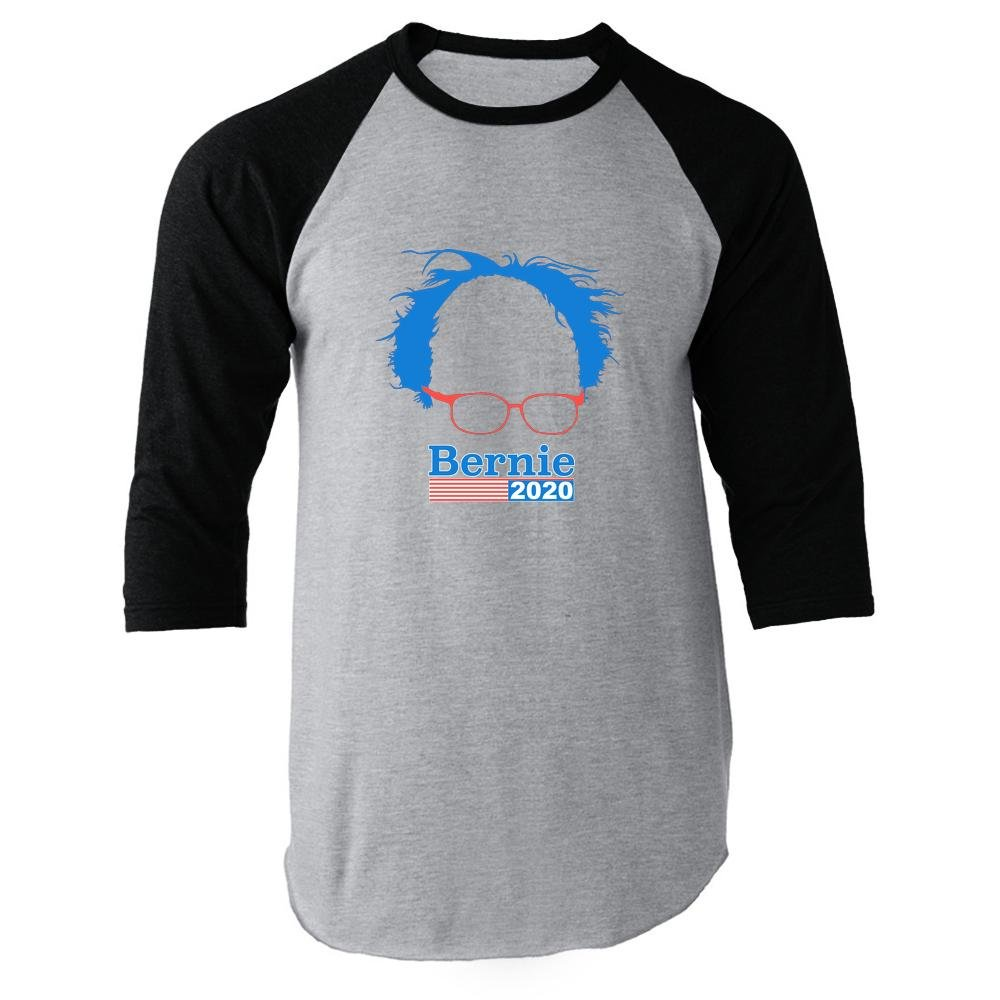 Pop Threads Bernie Sanders 2020 Hair and Glasses Campaign Black 2XL Raglan Baseball Tee