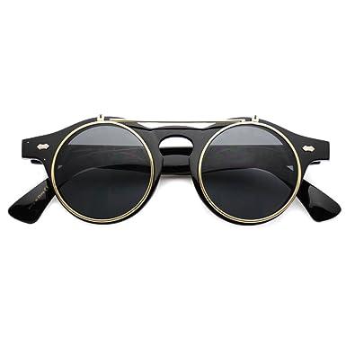 420ea81ab1 WearMe Pro Adult Flip Up Retro Sunglasses Black Gold Rimmed 43 mm   Amazon.co.uk  Clothing