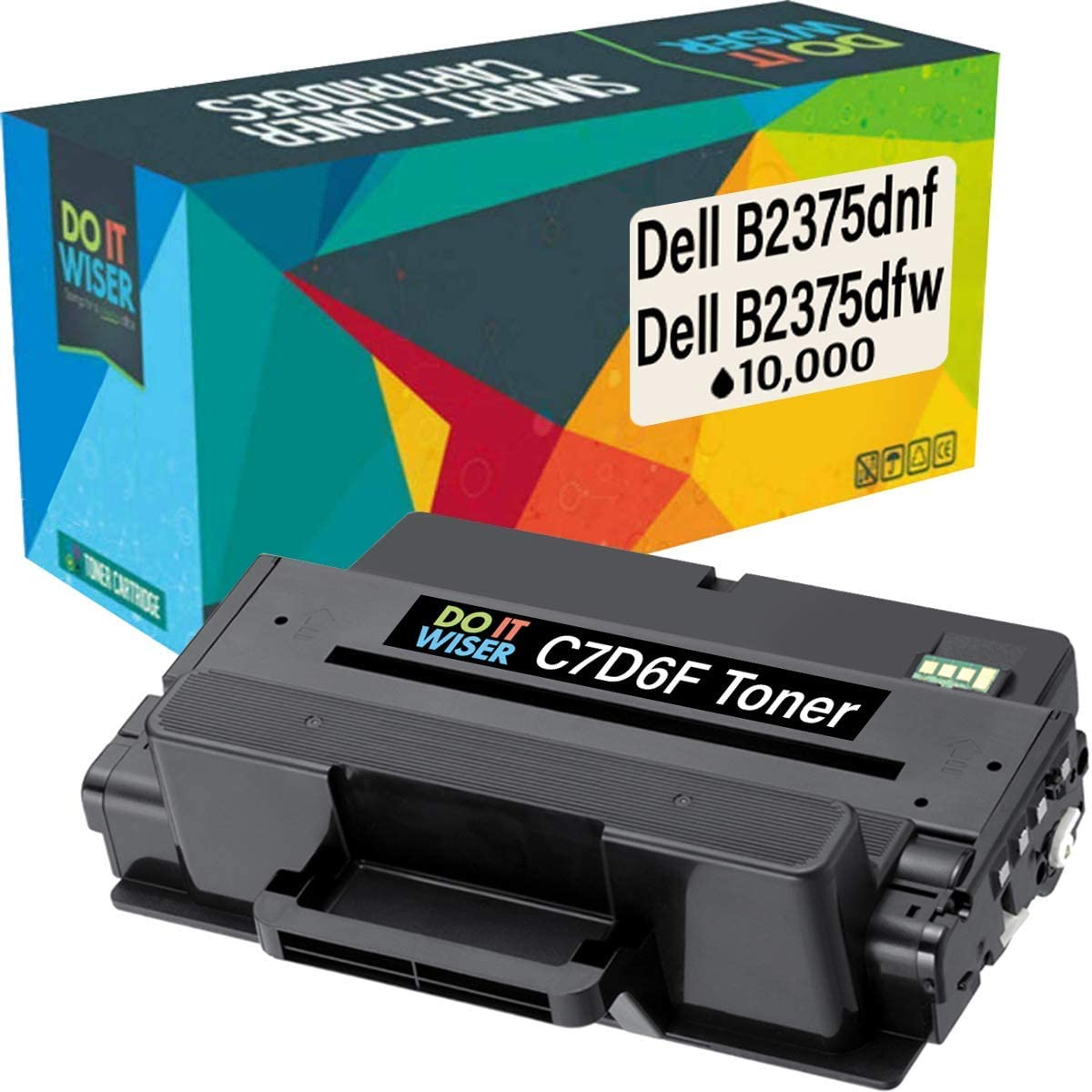 Do it Wiser Compatible Toner Cartridge Replacement for C7D6F Dell B2375dnf B2375dfw B2375 | 593-BBBJ 8PTH4 (10,000 Pages)