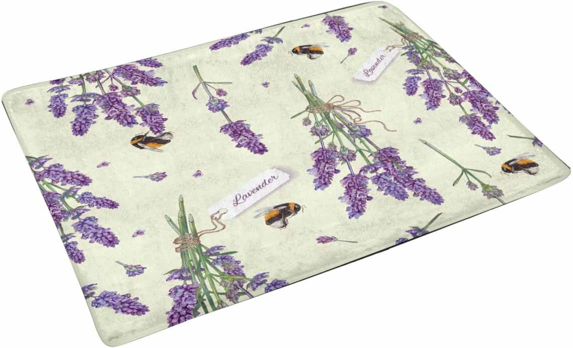 INTERESTPRINT Lavender Flowers with Bees Doormat Anti-Slip Entrance Mat Floor Rug Indoor Door Mats Home Decor, Rubber Backing X-Large 30 X 18 Inches