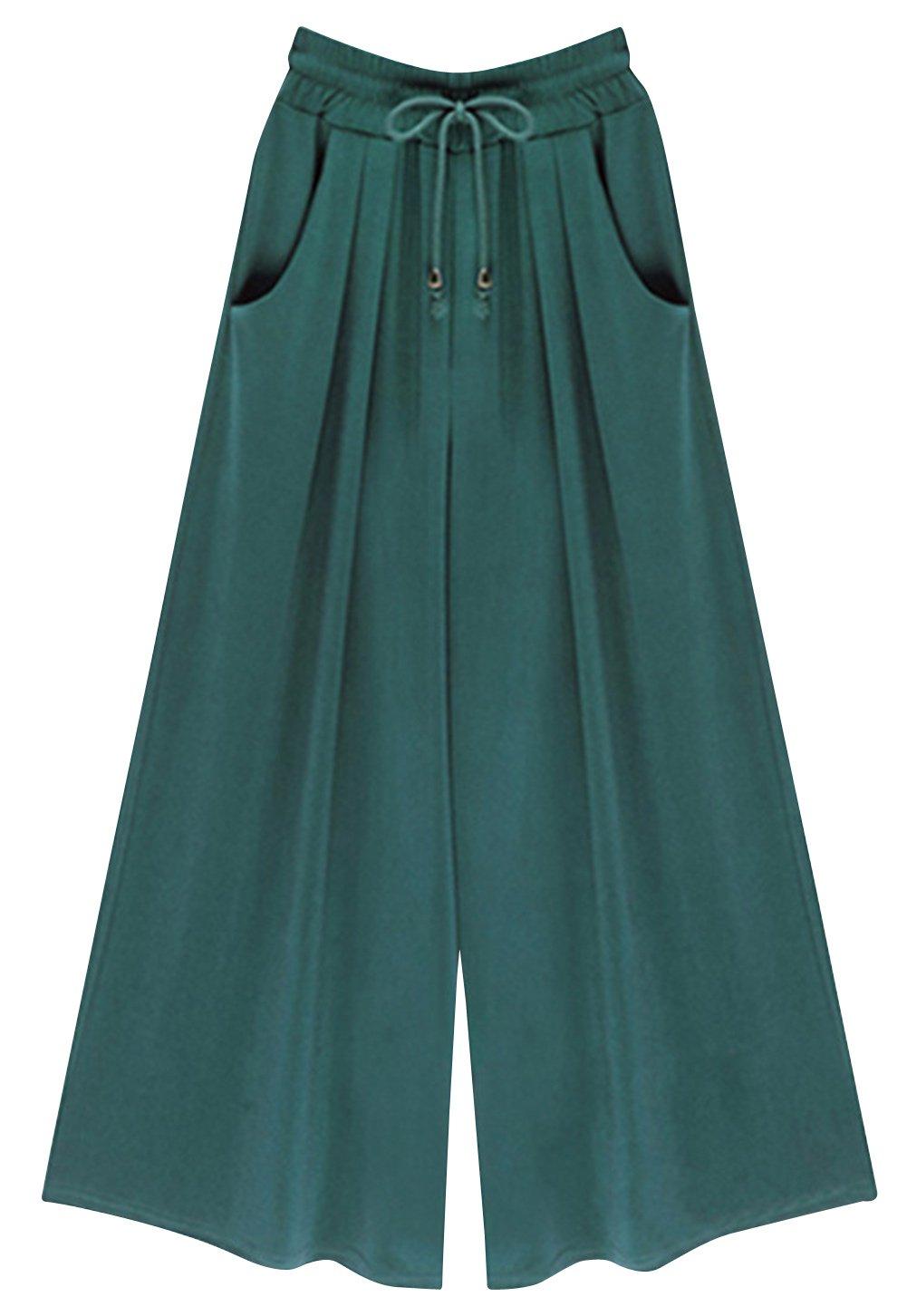 FEOYA Wide Leg Pants Womens Casual Loose Fit Elastic High Waist Palazzo Pants Long Blackish Green 2XL