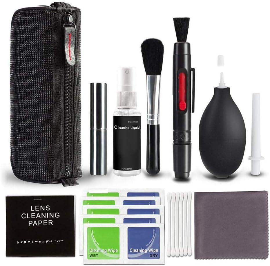 Kit de limpieza para cámaras réflex digitales con botella de spray rellenable, hisopos de limpieza de lentes para Canon Nikon, Pentax, Sony, cámaras DSLR