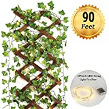 Fake Vines- 12pcs 90 Ft Artificial Ivy vines hanging vines fake foliage garland with led string light for Home Kitchen Office Kitchen and Wedding Party Garden Wall Decoration