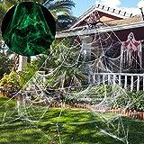 Unomor Giant Spider Web Glow in The Dark, Halloween Decoration Garden, Yard, Outdoor - 23×19 Feet, White