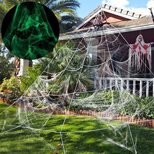 Unomor Giant Spider Web Glow in The Dark, Halloween Decoration Garden, Yard, Outdoor - 23×19 Feet, White -