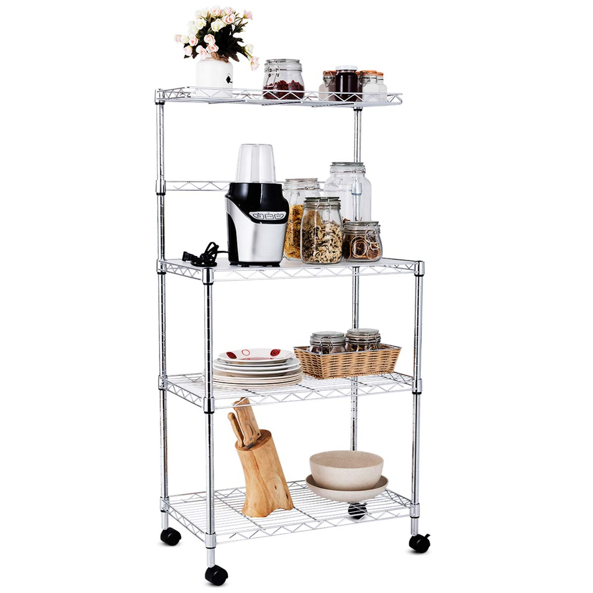 Giantex 4-Tier Baker's Rack Microwave Rack Free Standing Storage Shelf Microwave Oven Stand Kitchen Cart Storage Organizer Shelf Workstation w/Adjustable Shelf and Wheels