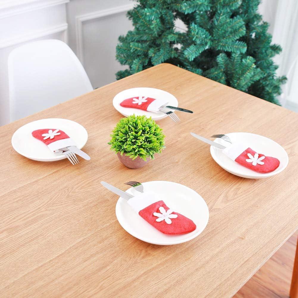ZB Lot de 12 Chaussettes de No/ël d/écoratives en Forme de Flocon de Neige pour Vaisselle de Table