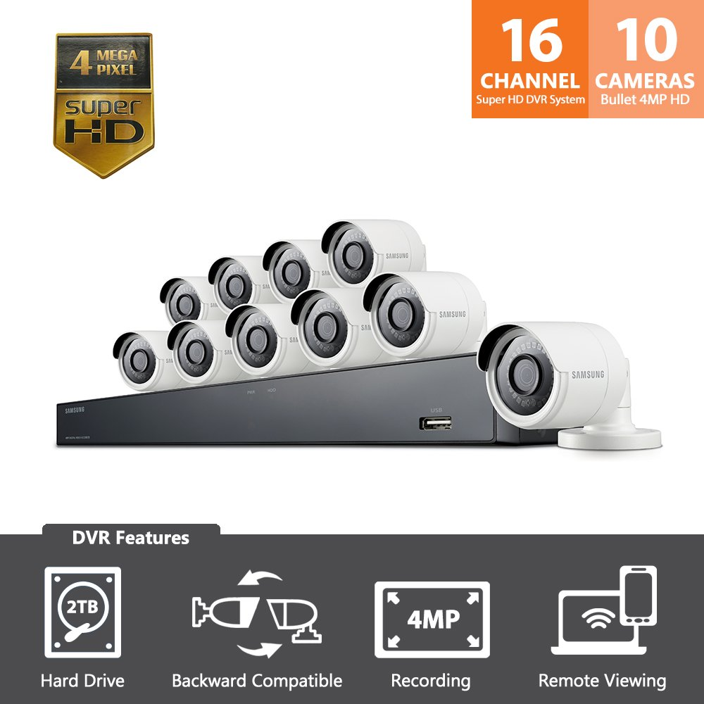 Samsung Wisenet SDH-C85100BF 16 Channel 4 MP Super HD NVR Video Security System 10 Bullet Camera (SDC-89440BC) with 2TB Hard Drive