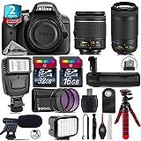 Holiday Saving Bundle for D3300 DSLR Camera + AF-P 70-300mm VR Lens + AF-P 18-55mm + Battery Grip + Shotgun Microphone + LED Kit + 2yr Extended Warranty + 32GB Class 10 - International Version