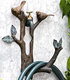 Ebros Aluminum Twin Bluebirds Perching On Tree Branch Small Lightweight Garden Hose Holder Wall Mounted Decor Or Outdoor Faucet Hanger
