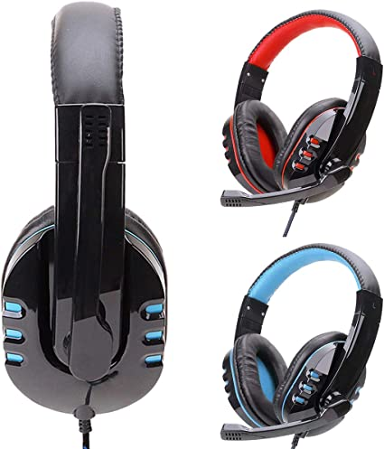 Artboy K1BPRO Gaming Headset 3.5mm Stereo USB LED Headphones Over Ear PC Earphone with Omnidirectional Microphone Volume Control Compatible with Computer Laptop PS4 Smart Phone