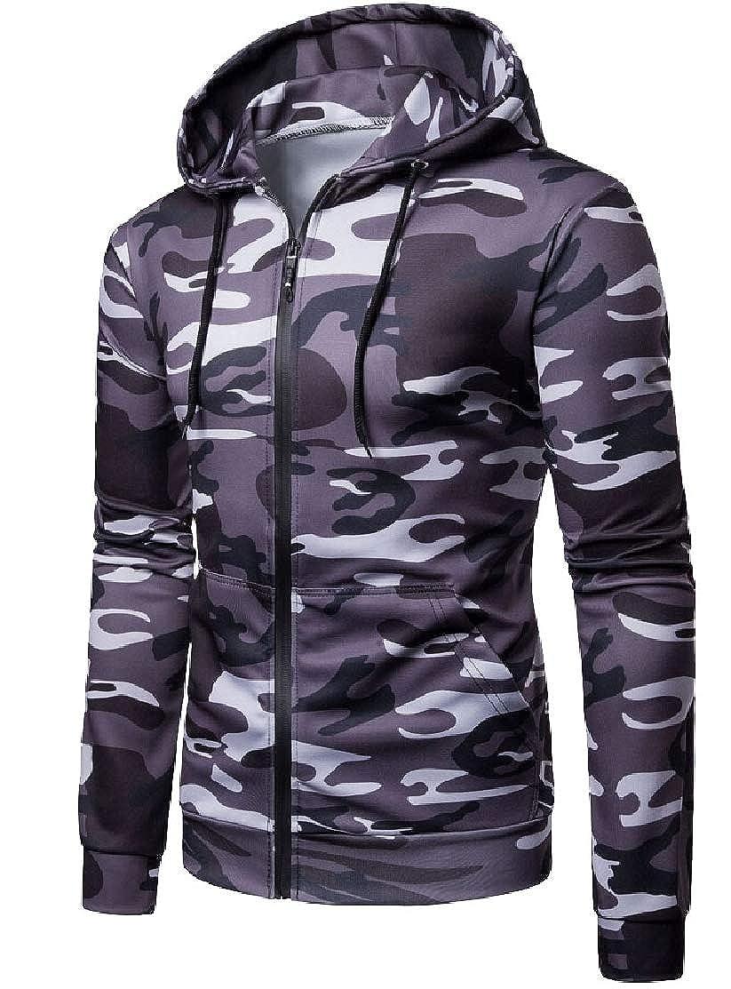 M/&S/&W Mens Long Sleeve Zip-up Hoodie Zipper Camo Sweatshirt Top