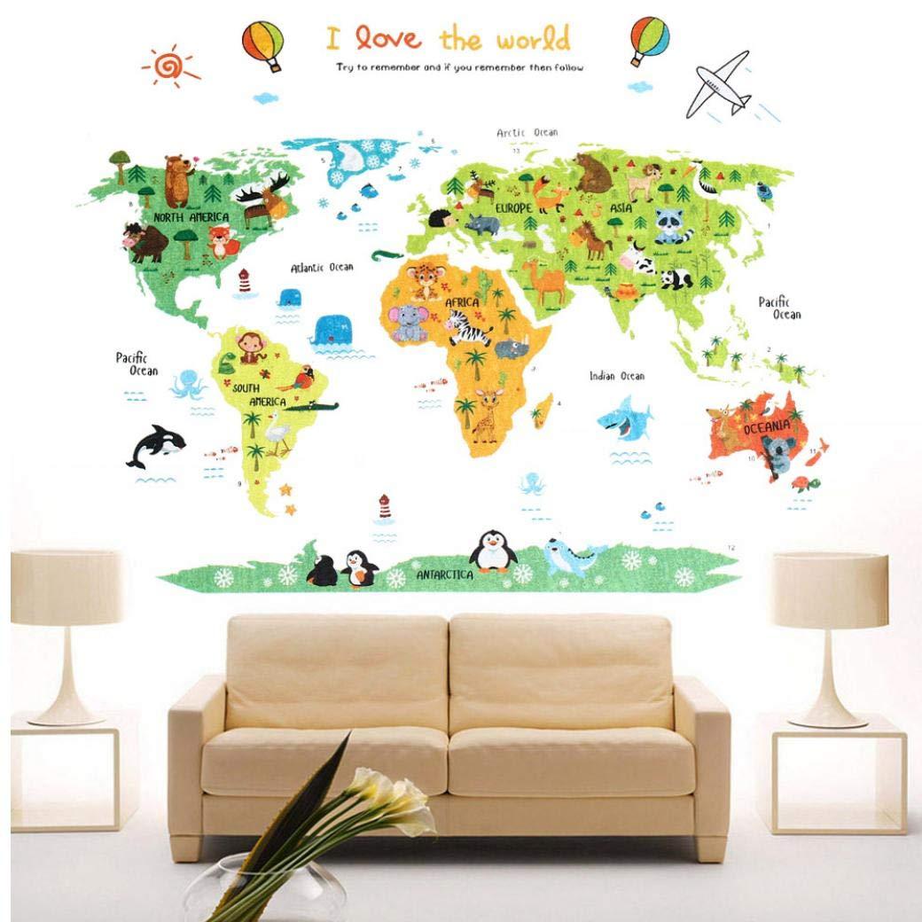 Zonster 1pcs Bricolage Auto-adh/ésif en Vinyle Stickers muraux Cartoon Planisph/ère PVC D/écoration dint/érieur pour Les Enfants Chambre D/écoration Art Mural Stickers muraux