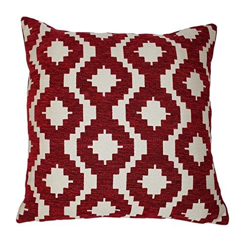 McAlister Arizona Extra-Large Pillow Cover / Euro Sham | Soft Multi-Texture Chenille Geometric Cushion Case | Red 24x24