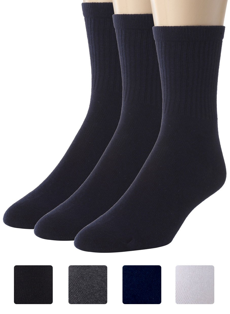 Sportoli Kids Boy's Soft Ribbed Classic Cotton Crew Casual Uniform Socks (Pack of 3) - Navy (7-8)