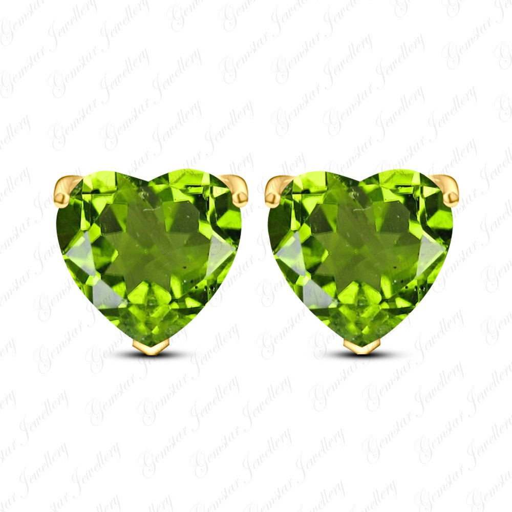 Gemstar Jewellery Excellent Cut Green Peridot 14k Yellow Gold Plated Heart Solitaire Stud Earrings