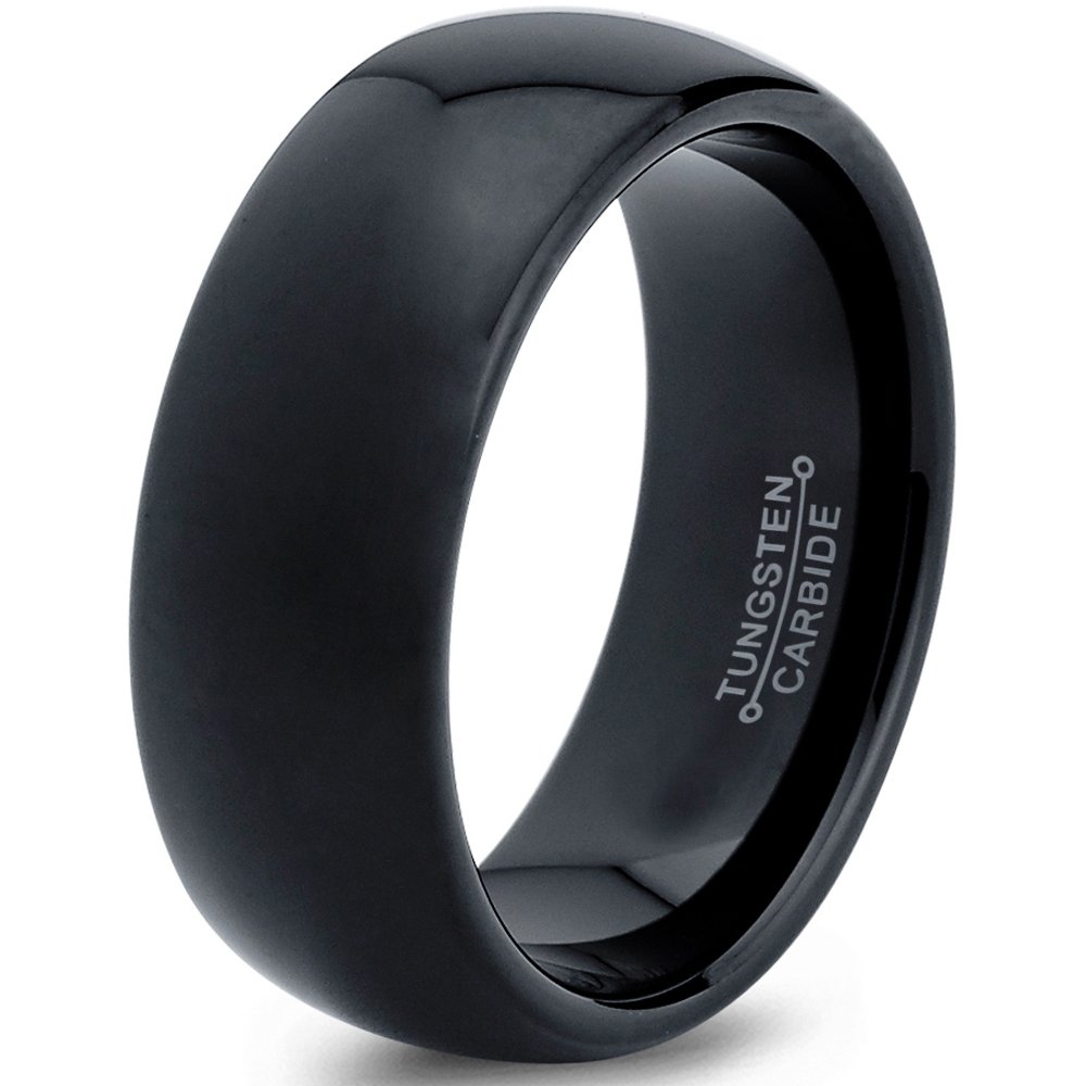 Tungsten Wedding Band Ring 8mm 6mm for Men Women Comfort Fit Black Dome Polished FREE Custom Laser Engraving Lifetime Guarantee