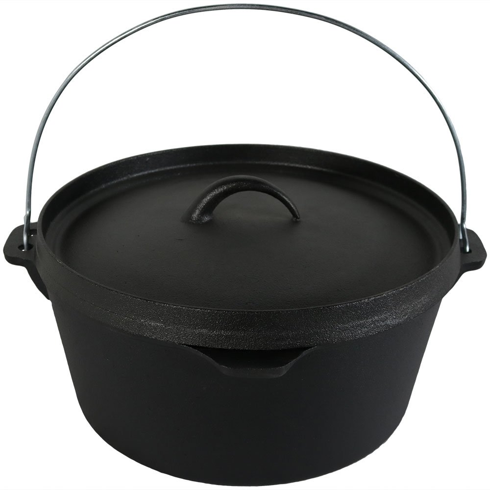 Sunnydaze Large Cast Iron Deep Dutch Oven Pot with Lid and Handle, Pre-Seasoned Cookware, 8-Quart, Black