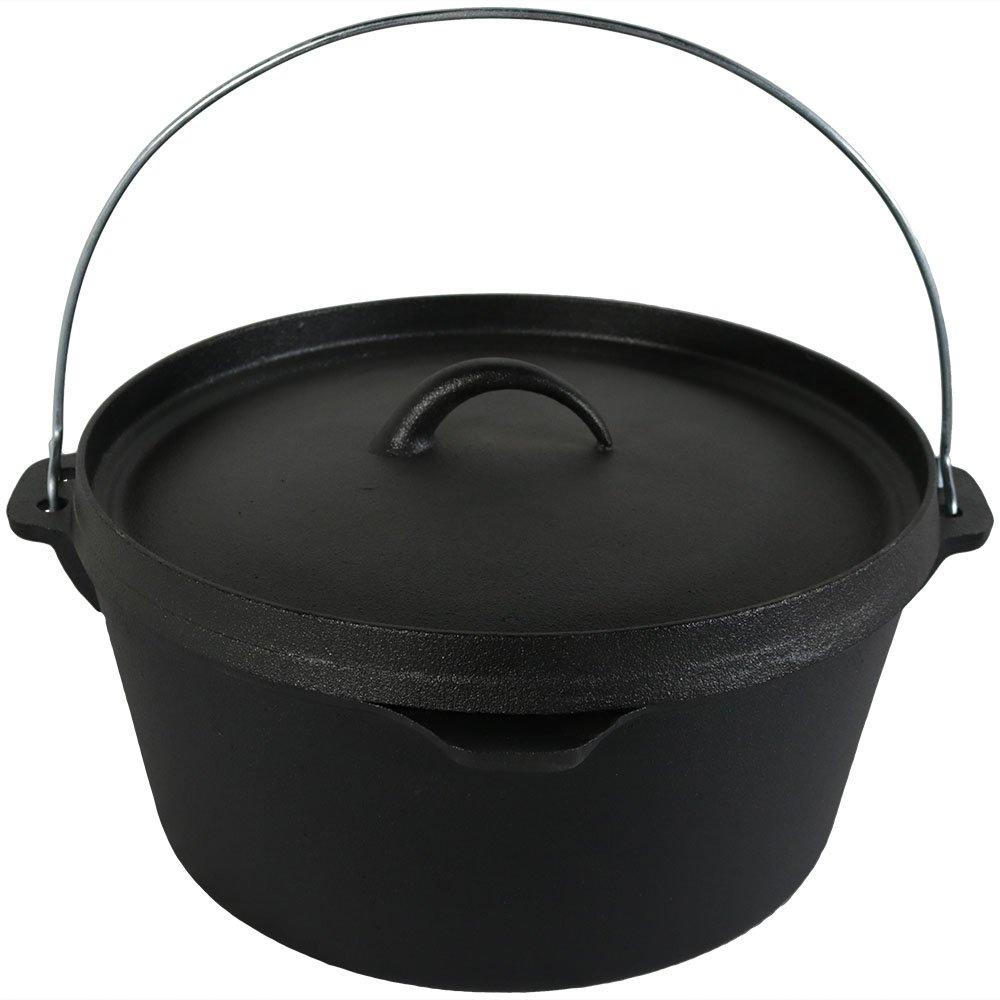 Cast iron deep dutch oven pre seasoned 12 inch 8 quart for Cast iron dutch oven camping recipes