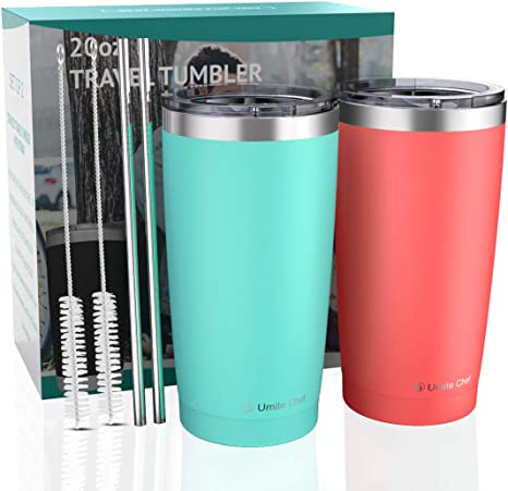 2 Pack 20oz Insulated Tumblers with Lid