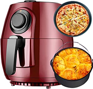 ZLJ Electric Air Fryer Air Fryer Cooker, New Multifunction High Capacity Electric Deep Fryer, Oil Free Household Air Fryer, Knob Control Can Be Timed Air Fryer (Color: Red, Size: 2630cm)