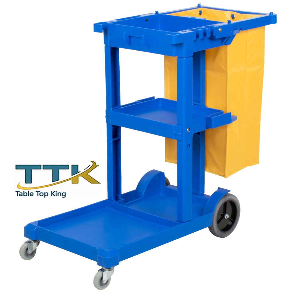 Tabletop King Cleaning Cart / Janitor Cart with 3 Shelves and Vinyl Bag
