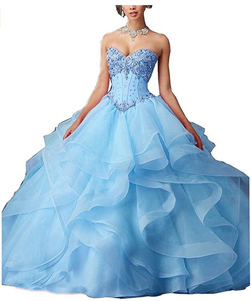 bluee FWVR Women's Crystals Asymmetric Long Puffy Prom Quinceanera Dresses Ball Gown